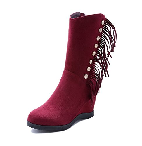 AmoonyFashion Womens Round-Toe Closed-Toe Kitten-Heels Boots with Slipping Sole and Zippers Claret ipk5pyPzt