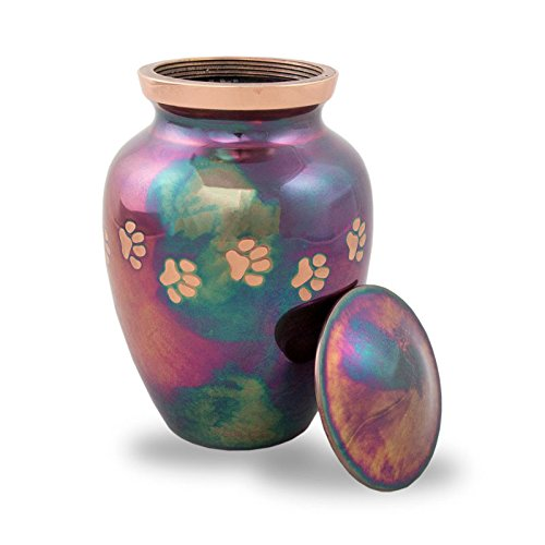 OneWorld Memorials Paw Print Bronze Cremation Urn for Cats and Dogs - Medium - Holds Up to 85 Cubic Inches of Ashes - Raku Blue Pet Cremation Urn for Ashes - Engraving Sold Separately by OneWorld Memorials (Image #2)
