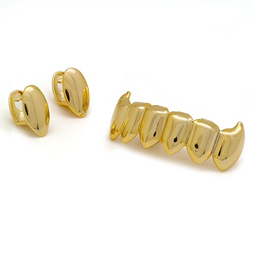 LuReen Gold 2pc Vampire Fangs Single Top and 6 Shiny Bottom Grillz Teeth Combo (Gold) ()