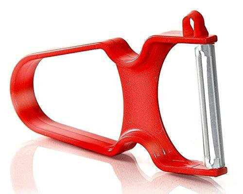 Vegetable Peeler, Potato Peeler, For All Fruits & Veggies, with Swiss Blades and Ergonomic, Non-Stick Plastic Handle, By Bovado USA , Red