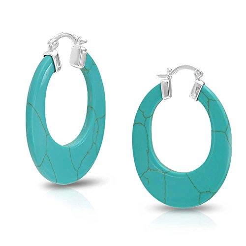 - Round Created Turquoise Blue Hoop Earrings 925 Silver Snap Down Post 1.5 Inch