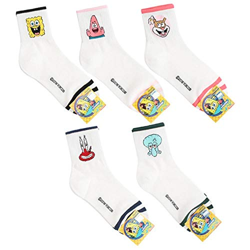 Women's Sponge Bob Square Pants Animation Cartoon Character Mr. Krabs, Patrick Star, Sandy Cheeks, Squidward Tentacles, SpongeBob SquarePants Crew Socks with Pouch Pack of 5 Pairs (Spongebob Best Day Ever 420)