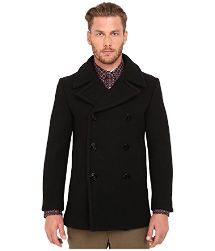 Marc Jacobs Men's Brushed Felt Peacoat, Black, 50 (US 40)
