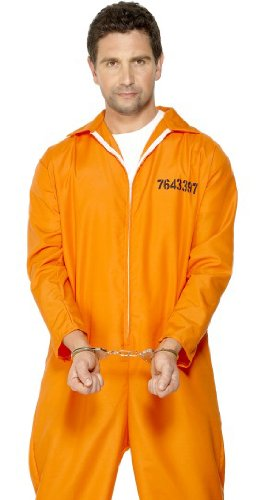 Convict Costume Uk (Smiffys Escaped Convict Prisoner Mens Orange Jailbird Costume L)