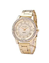 Redvive Women's Men's Casual Crystal Rhinestone Stainless Steel Band Analog Quartz Wrist Watch. (Golden)