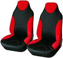 AUTOYOUTH 1PC Racing Style Integrated Front Bucket Seat Cover Flat Cloth Two Tone Colors(Red/Black) Auto Accessories...