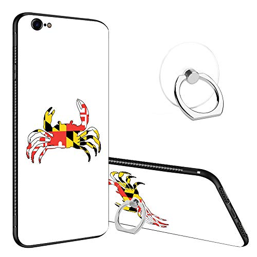 iPhone 6s Case, iPhone 6 Tempered Glass Back Cases, Fashoin Design Maryland Crab Soft TPU Bumper Frame Case for Apple iPhone ()