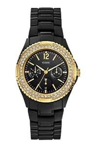 GUESS Women's U0062L8 Classic Feminine Gold Bezel Black Watch