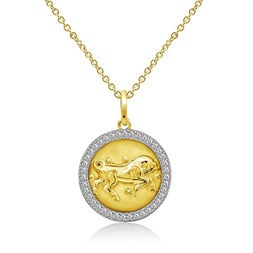 DIAMONBLISS Gold 18K Plated Sterling Silver 1 ct Cubic Zirconia Motive Taurus Design Pendant with Chain (18k Motif Necklace)