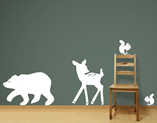 Bear, Deer and Squirrels Wall Decals Sticker Nursery Decor Art Mural! (gloss white)