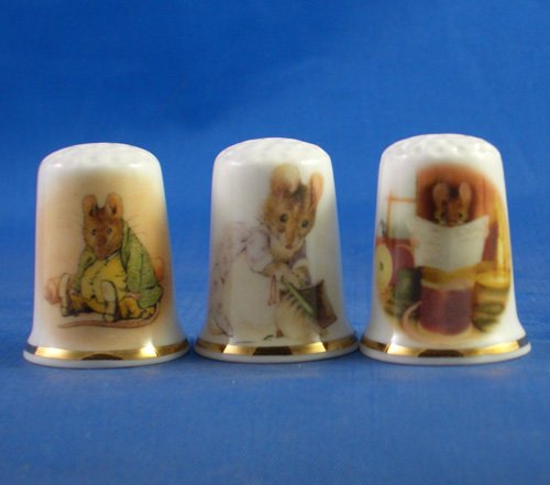 Porcelain China Collectable Thimbles Set of Three Beatrix Potter Mice Birchcroft China