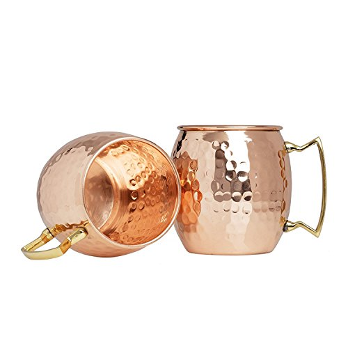 Set of 40 100% Pure Copper Moscow Mule Mugs By Advanced Mixology (16 oz each) with 40 Artisan Hand Crafted Wooden Coasters - Barrel With Brass Handle by Advanced Mixology (Image #1)
