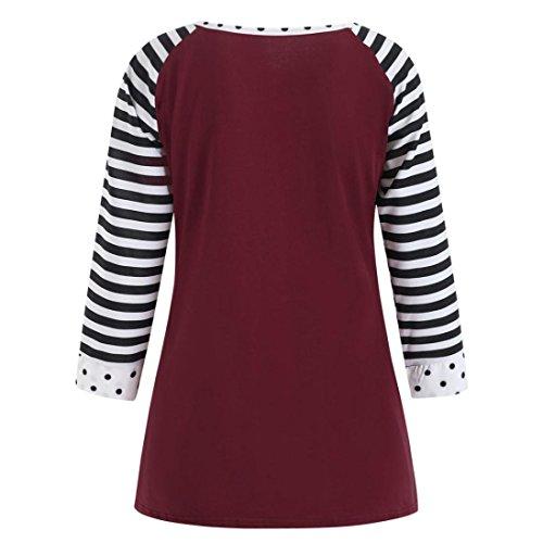 Casual Haut Longue Sexy Chemisier Vin Shirt Tops T Grande Chic Rouge Femme Blouse Manchon Fleur Round Col Taille Rayures BIqwaBxp