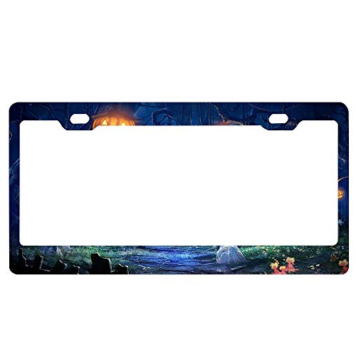 ABLnewitemFrameFF Scary Night in The Cemetery Happy Halloween Metal Retro Home Bathroom Bar Wall Decor Car Vehicle License Plate Size 6 X -