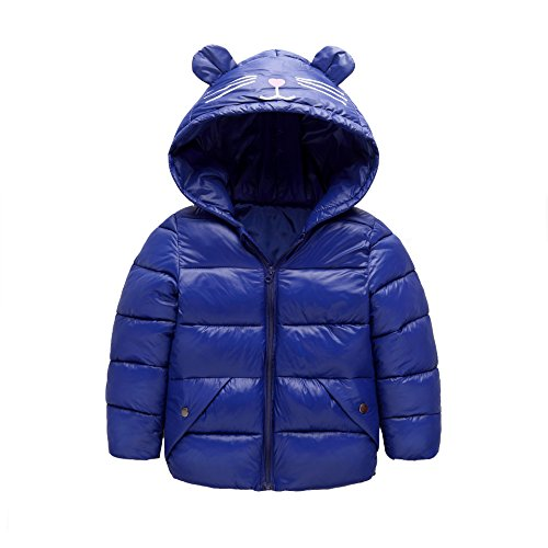 Blue Ear 3 blue Baby Royal Size Jacket Boys Hoodie Winter Dark Outwear Fairy Girls Light Warm Kids Coat Down Baby 4T UqBwAnz