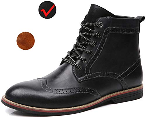 (LSGEGO Men's Retro Leather Oxford Boots Lace Up Brogue Casual Moccasins Shoes for Men Dress Ankle Boots Black)