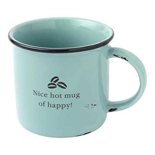 Hallmark Home Distressed Oversized Ceramic Camp Mug, Aqua Happy Coffee Beans ()