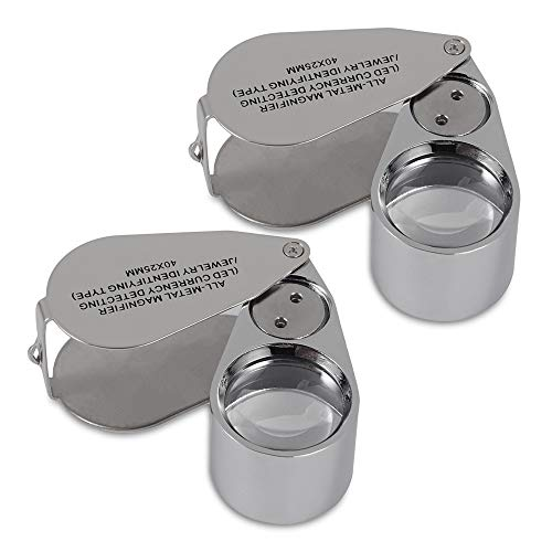 ZHSX 40X Illuminated Jewelers Loupe Magnifier, 2 Pack Full Metal Construction with LED and UV Lens Collapsible Pocket Magnifying Glass for Jeweler Currency Detection Jewelry Recognition Type Loop