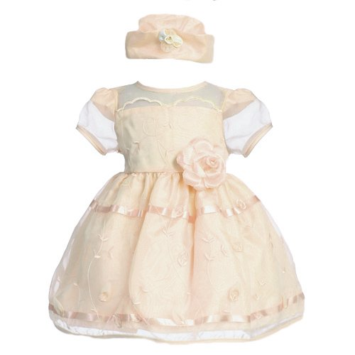 Pink Glittered Polka Dot Baby Dress w/ Bloomers Style: LM Sleeveless bodice w/ glitter polka dot print Irremovable waistband Zipper back closure w/ tie back sash Crinoline layer & lining within Matching bloomers included Swea Pea & Lilli M Made in.