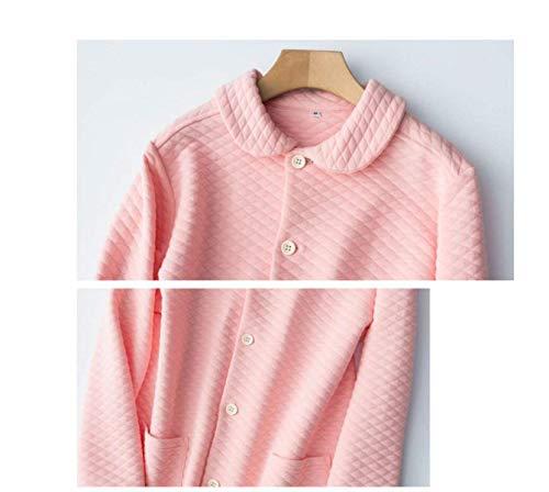Delanteros Alta Solapa Solo Piezas female Pijama Manga De Pantalones Cintura Pink Mujer Caliente Moda Bolsillos Pijamas Dos Invierno Larga Pecho Un nCw5YZqf8