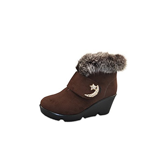 AllhqFashion Womens Closed-toe Imitated Suede Hook-And-Loop Kitten-heels Ankle-high Boots Brown 67aIWEsw