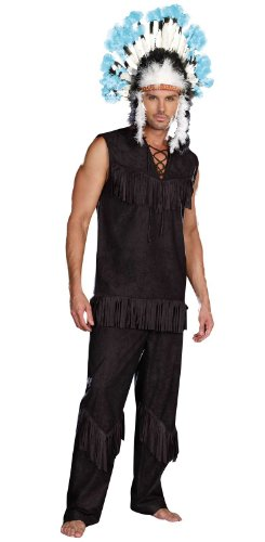 [Dreamgirl Men's Chief Wansum Tail Costume, Black, X-Large] (Indian Costumes Halloween)