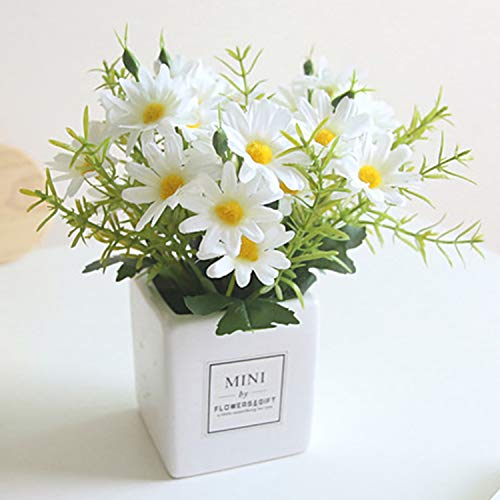 Artificial Flowers, Daisy Flower with Vase Artificial Gerber Daisies Bouquet Fake Plant for Home,Office,Wedding Decoration, Crafts(White - 1 Pack)