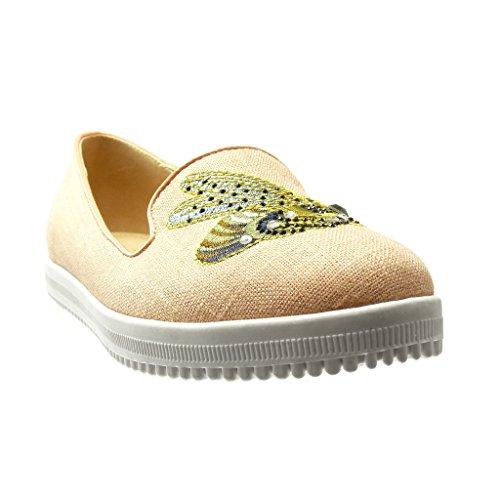 Angkorly - Scarpe da Moda Mocassini Jeans Denim slip-on suola di sneaker donna ricamo strass fantasia Tacco tacco piatto 0 CM - Rosa