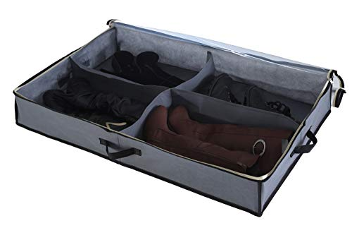 Sami Time 4 Pairs Under Bed Shoe Boot Organizer Closet Storage Solution Organizer Box with Front Zippered Closure Cardboard Sides-Enlarged Size