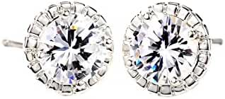 Neoglory Jewelry CZ Cubic Zirconia Wedding Stud Earrings For Women Silver Color White for Sensitive Ears