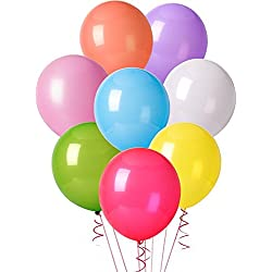 MESHA 12 Inches Assorted Color Party Balloons (144 Pcs) - USA SELLER