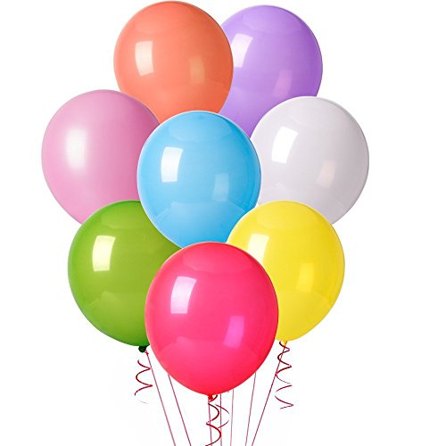 MESHA 12 Inches Assorted Color Party Balloons (128 Pcs)]()