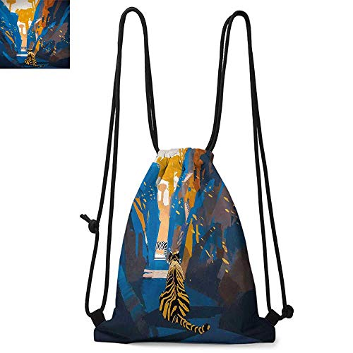 Fantasy Easy to carry drawstring backpac African Tiger in City Streets Narrow Walls Digital Wilderness Jungle Savannah Durable Drawstring Backpack W13.4 x L8.3 Inch Orange Blue