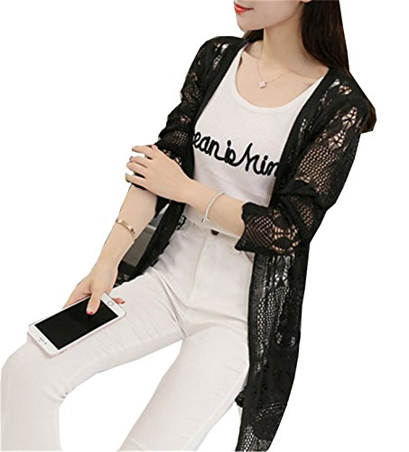 drgeesye New Ladies Crochet Tops Summer Hollow Out Knitted Sweaters Cardigan Rebecas Mujer Fashion Women Beach Cardigan Spring Autumn 4 One Size
