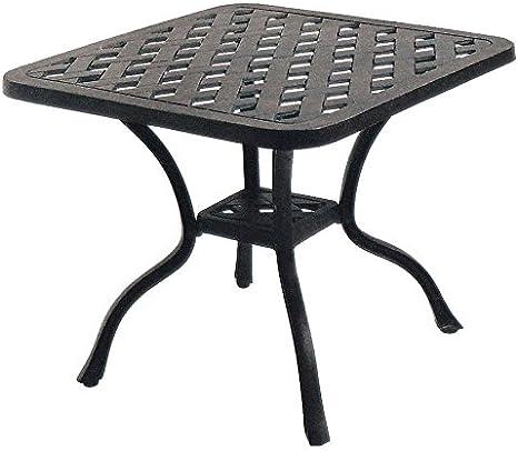 Patio End Table Nassau Outdoor Cast Aluminum Furniture Desert Bronze Kitchen Dining