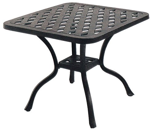 Patio End Table Nassau Outdoor Cast Aluminum Furniture Desert Bronze by Sunvuepatio