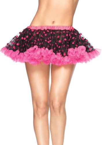 Leg Avenue Chiffon Mini Petticoat with Flocked Polka Dots, Black/Neon Pink, One Size Dot Petticoat