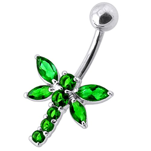 Emerald Green CZ Stone Dragonfly Design 925 Sterling Silver Belly Button Piercing Ring Jewelry - Emerald Belly Button Ring