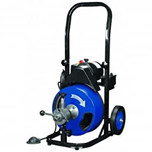 """1/2 inch by 50 feet Power Feed Drain Cleaner Drum Auger Snake (1"""" to 4"""" pipes) with Built-in GFCI and many Accessories"""
