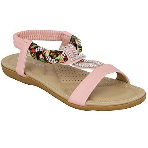 Ladies Flat Slip On Sandals Womens Diamante Floral Sling Back Open Toe Shoes Pink - Pm1027