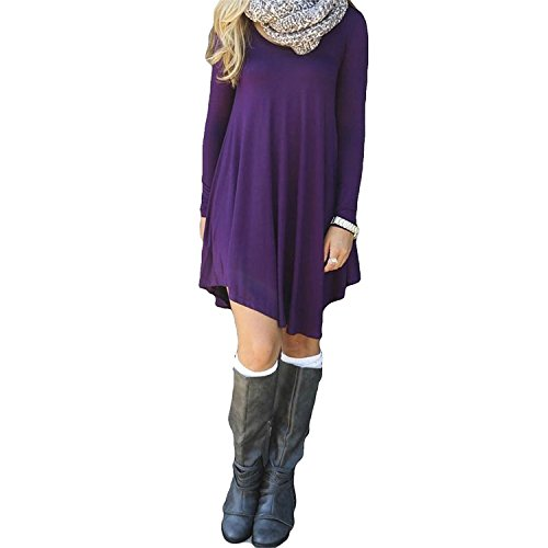 [Labaqiangj Womens Long Sleeve Loose Irregular Hem Autumn Dress Z-purpleSmall] (60s Dress Up Ideas)