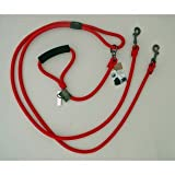 Timberwolf Alpine Rope 2-Dog Lead ~Red~ 5/16''x 72''