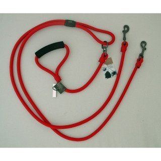 Timberwolf Alpine Rope 2-Dog Lead ~Red~ 5/16''x 72''