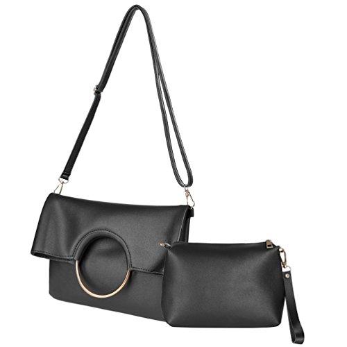 Vbiger Bolso del anillo del bolso de las mujeres bolso del embrague plegable bolso del mensajero Negro