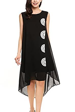 Qearal Womens Summer Chiffon Sleeveless Lace Embroidered Flowy High Low Party Beach Dress (S, Black)
