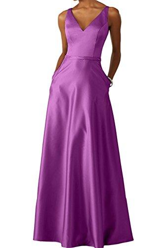 La Langes Abschlussballkleider Braut Salbei Brautjungfernkleider Satin Violett Promkleider Lang mia Damen Ballkleider Abendkleider rnfqrR