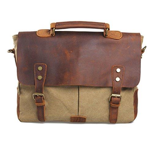 iMaySon Men/Women's Vintage Canvas Leather Schoolbag Shoulder Crossbody Messenger Bag (Khaki)