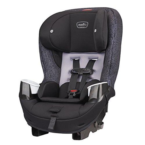 Evenflo Stratos 65 Convertible Car Seat, 2 Car Seats in 1, Forward / Rear Facing Car Seat, Air Flow Vents, Removable Body Pillow, Rollover-Tested, Quick-Connect LATCH Hooks, Boulder Gray