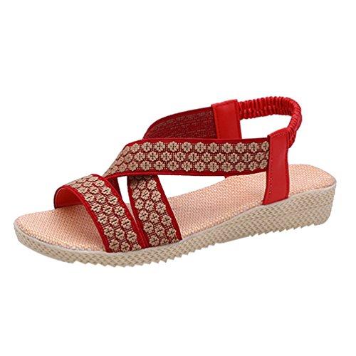YOUJIA Womens Flip Flops Roman Gladiator Strappy Flat Sandals Elastic Strap Peep Toe Summer Beach Flat Shoes Red