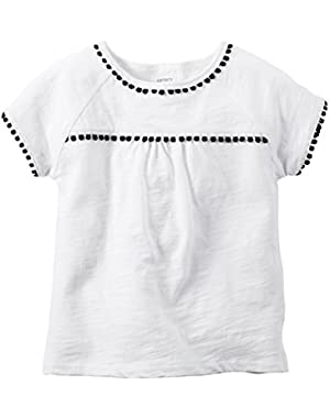 Girl S/S PomPom Trim Top; White